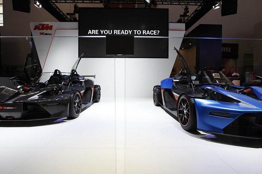 KTM X-bow sports cars are on display at the China International Exhibition Centre new venue during the Auto China 2014 Beijing International Automotive Exhibition in Beijing, on April 21, 2014. -- FILE PHOTO: AFP