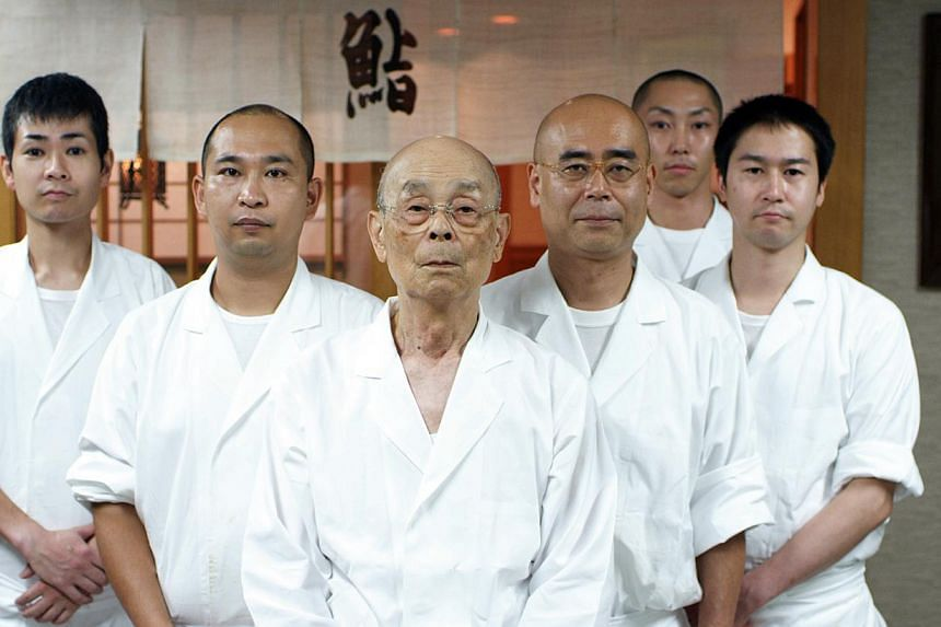Master sushi chef Jiro Ono (centre) is featured in the documentary film, Jiro Dreams of Sushi. The sushi restaurant where United States President Barack Obama is expected to dine with Japanese Prime Minister Shinzo Abe on Wednesday, April 23, 2014, n