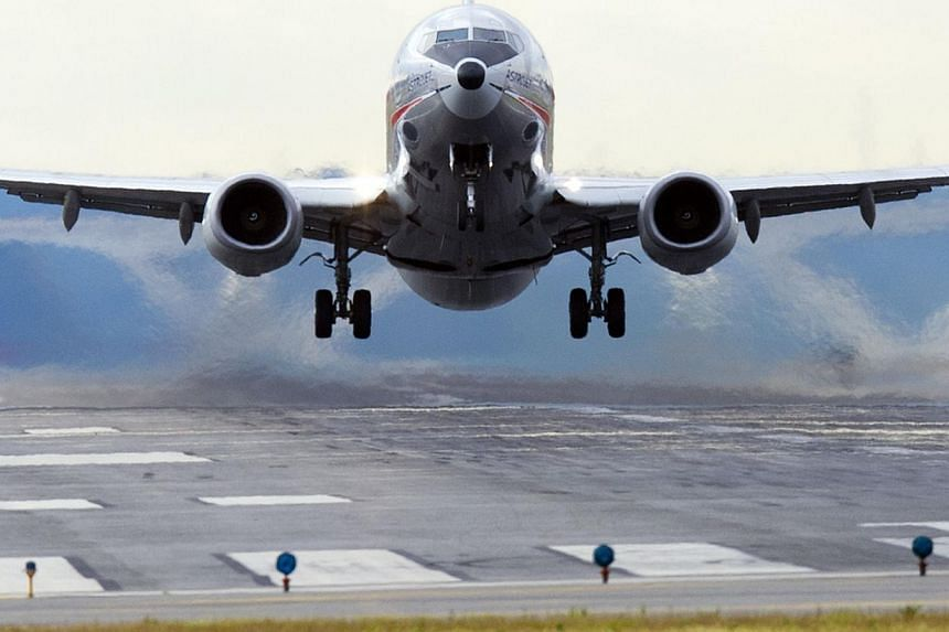 An American Airlines Boeing 737 airplane takes off from a runway at Ronald Reagan Washington National Airport in Arlington, Virginia on Sept 23, 2013. -- FILE PHOTO: AFP