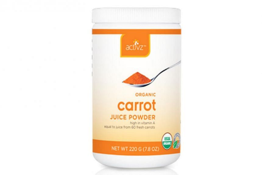 Powdered carrot by Activz.Powdered vegetables do not lose any of the nutritional value that you find in raw vegetables and of course they keep longer. -- PHOTO: ACTIVZ.COM
