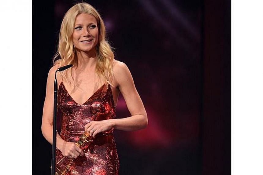 US actress Gwyneth Paltrow speaks after receiving a Golden Camera award for best actres international at the 49th Golden Camera awards ceremony in Berlin on Feb 1, 2014. -- FILE PHOTO: AFP
