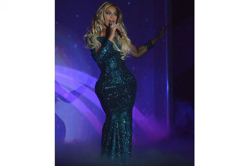 Beyonce at the BRIT Awards in London on Feb 19, 2014. -- FILE PHOTO: REUTERS