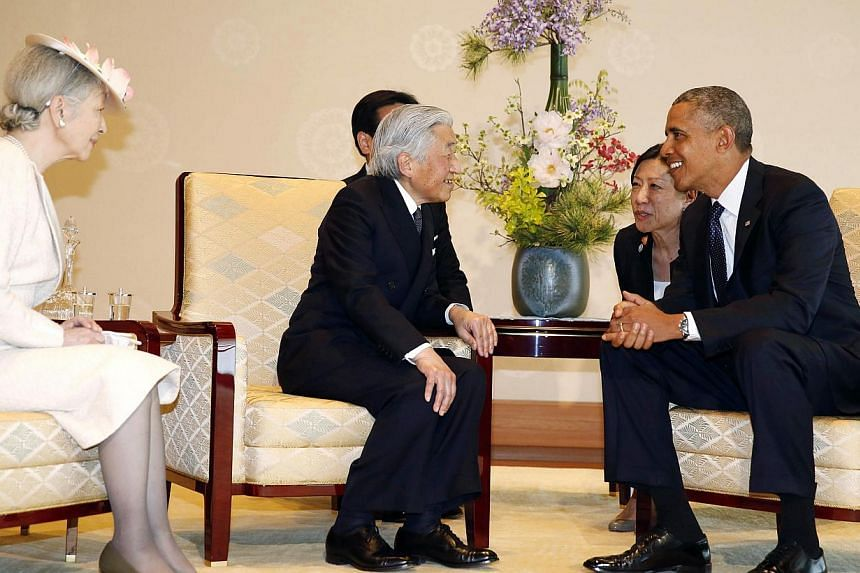 US President Barack Obama meets with Japanese Emperor Akihito (second from left) and Empress Michiko (left) at the Imperial Palace in Tokyo on April 24, 2014. Obama is on a week-long tour of Asia, which will also take in South Korea, the Philippines