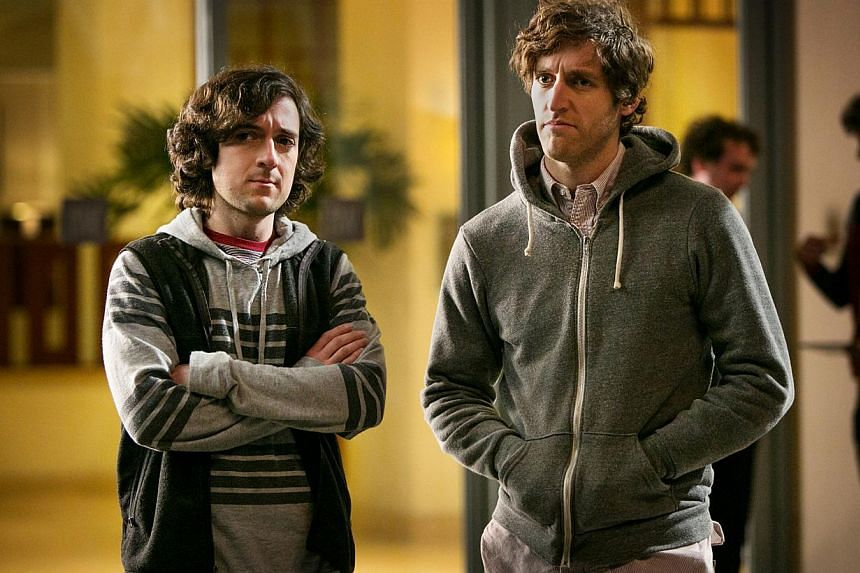 Canadian actor Thomas Middleditch (left) as the main dork in Silicon Valley, with Josh Brener, who plays his pal; and Jason Beghe (below far left) is the scary, rule-bending anti-hero cop in Chicago P.D. -- PHOTO: HBO ASIA
