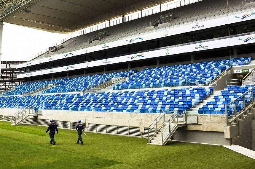 The interior of the Arena Pantanal soccer stadium is pictured as it undergoes construction in Cuiaba on April 23, 2014.Fifa president Sepp Blatter has encouraged fans to be optimistic that the World Cup in Brazil will be a success, amid growing