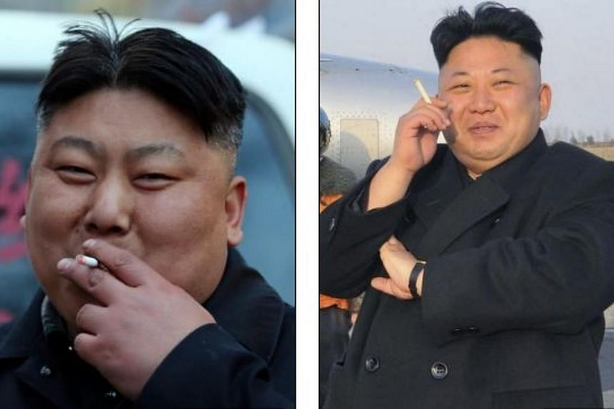 Manchu Tuan (left), a Chinese kebab seller, has used his resemblance to Mr Kim Jong Un (right) to his advantage.-- SCREENGRAB:THE DAILY MAIL