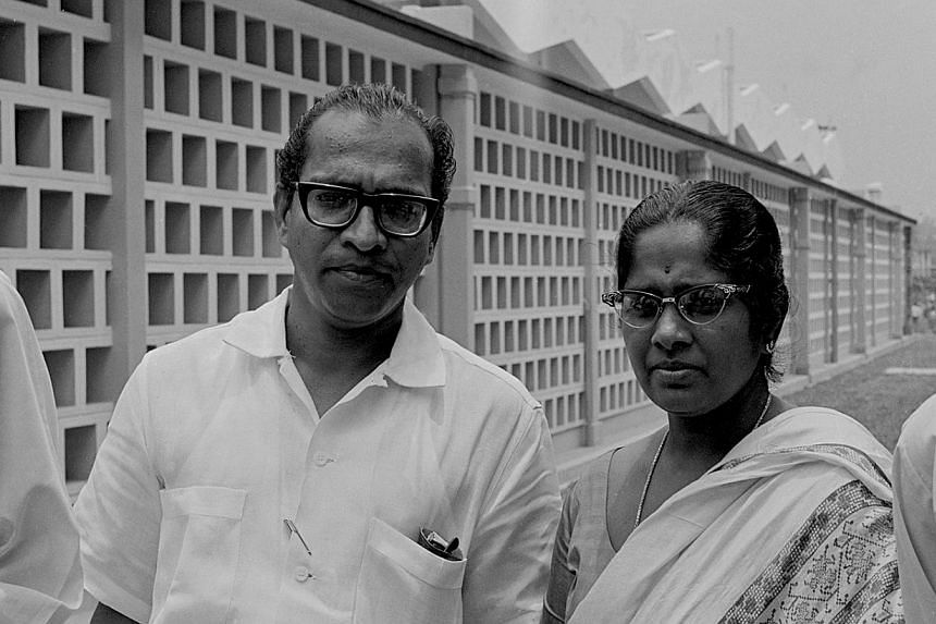 Madam Avadai Dhanam Lakshimi with husband Mr Chengara Veetil Devan Nair, Secretary-General of National Trades Union Congress.-- ST FILE PHOTO:LEE TUCK SOON