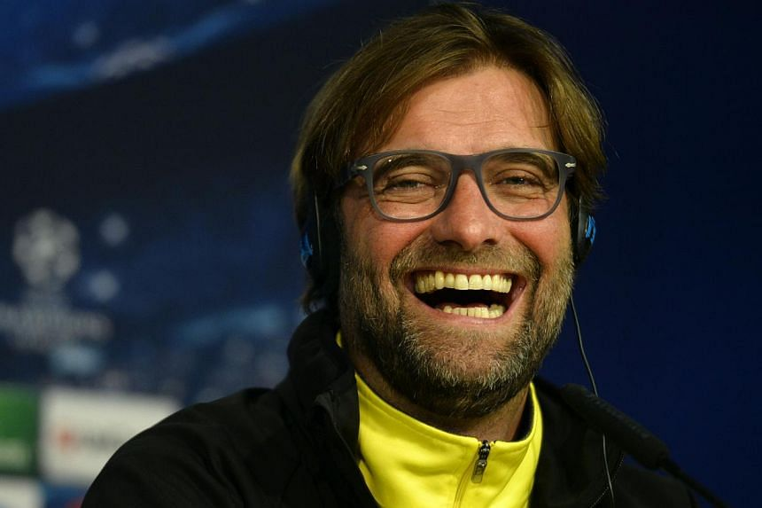 Dortmund's head coach Juergen Klopp reacts during a press conference on April 1, 2014 on the eve of their UEFA Champions League quarterfinal first leg football match Real Madrid CF vs Borussia Dortmund. -- FILE PHOTO: AFP