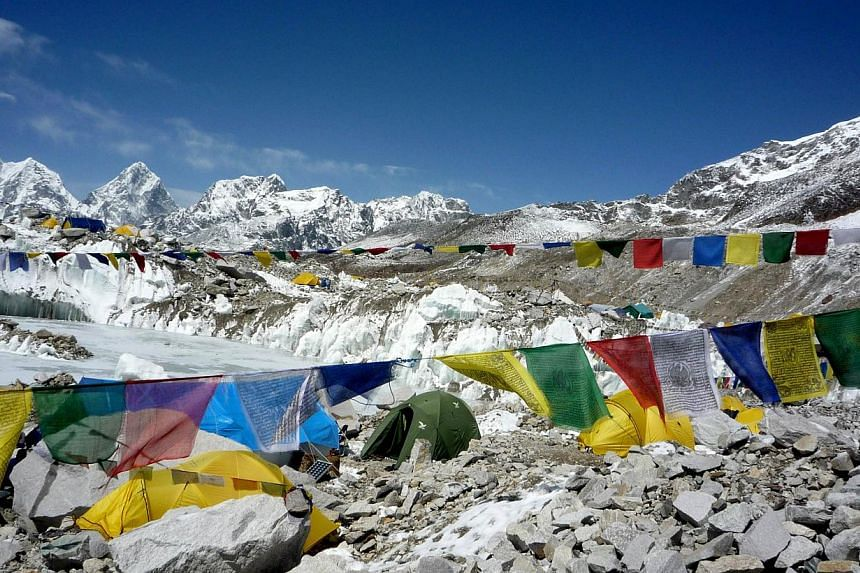 This photograph taken on May 17, 2009, shows a general view of Everest Base Camp in Nepal. Scores of Nepalese guides and foreign climbers on Mount Everest packed up April 24, 2014, loading supplies onto yaks and booking helicopters, with the climbing