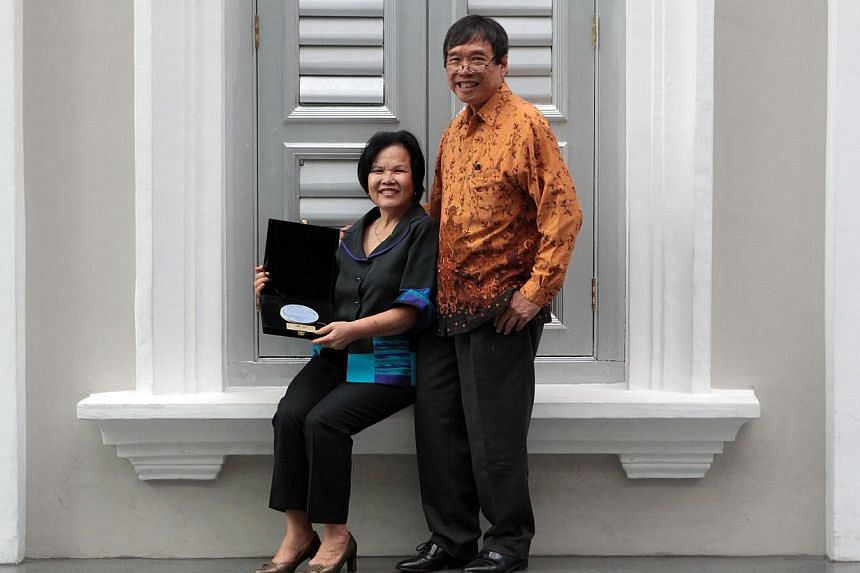 Dr Jon and Mrs Doreen Lim, who are among the 74 receipients in the newly introduced Supporter category of the National Heritage Board's (NHB) annual Patron of Heritage awards held at the National Museum of Singapore on April 25, 2014. A record numbe