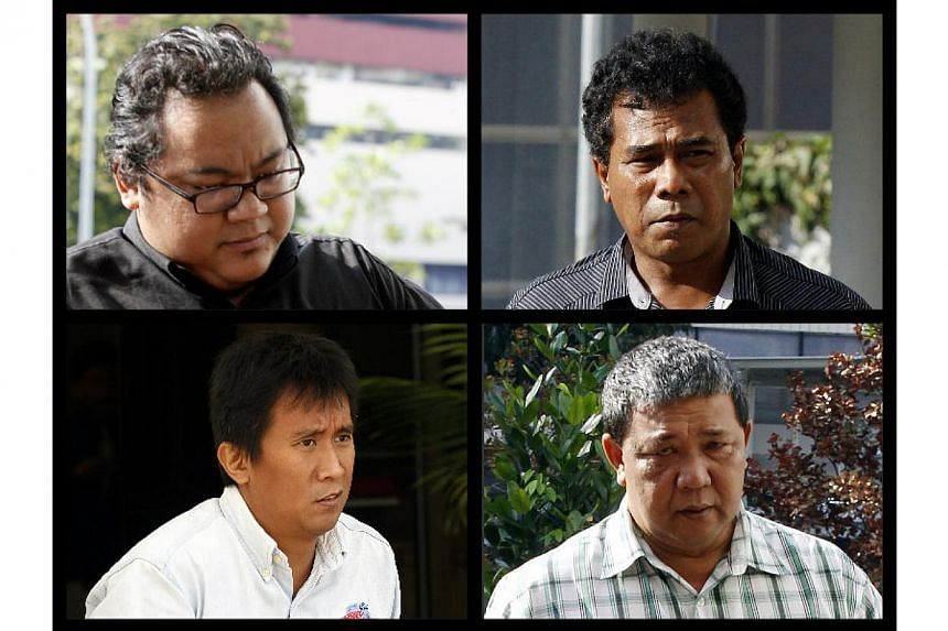 (Clockwise from top left): Rudyanto and Sallahudin, who provided vehicles for the fake accident; and Kamis and Afghani, who posed as injured passengers. Rudyanto was sentenced to two months in jail, Sallahudin got four months and Kamis three months,