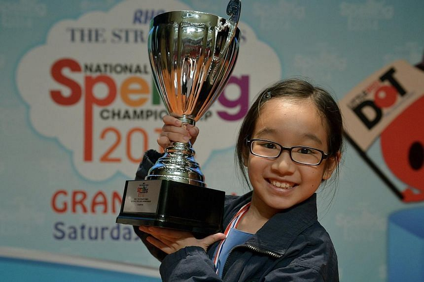 Nicole Lim from Singapore Chinese Girls' School became the first female to win the ST-MOE National Spelling Championship which was held at the ITE college Central. -- ST PHOTO: KUA CHEE SIONG
