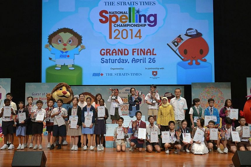 The grand finals of the ST-MOE National Spelling Championship. -- ST PHOTO: KUA CHEE SIONG