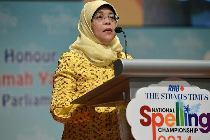 Madam Halimah Yacob, Speaker of Parliament, was the Guest of Honour at the ST-MOE National Spelling Championship. -- ST PHOTO: KUA CHEE SIONG