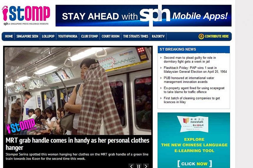 Singapore Press Holdings (SPH) will review its citizen journalism website Stomp to see what needs to be changed, but the website is unlikely to be shuttered. -- PHOTO: STOMP