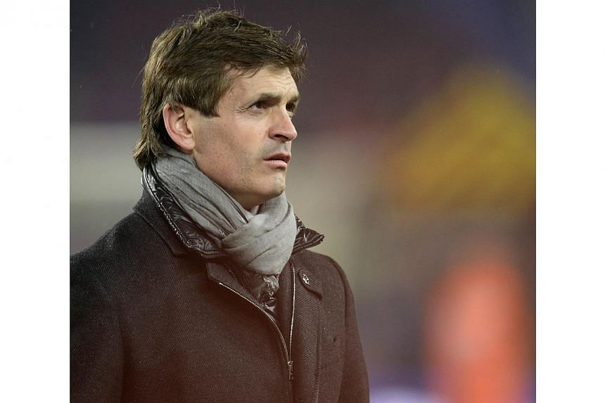 A file picture taken on May 19, 2013 shows Barcelona's coach Tito Vilanova at the Camp Nou stadium in Barcelona after winning the Spanish League title. Vilanova died on April 25, 2014 at the age of 45 after a prolonged battle against cancer, the club