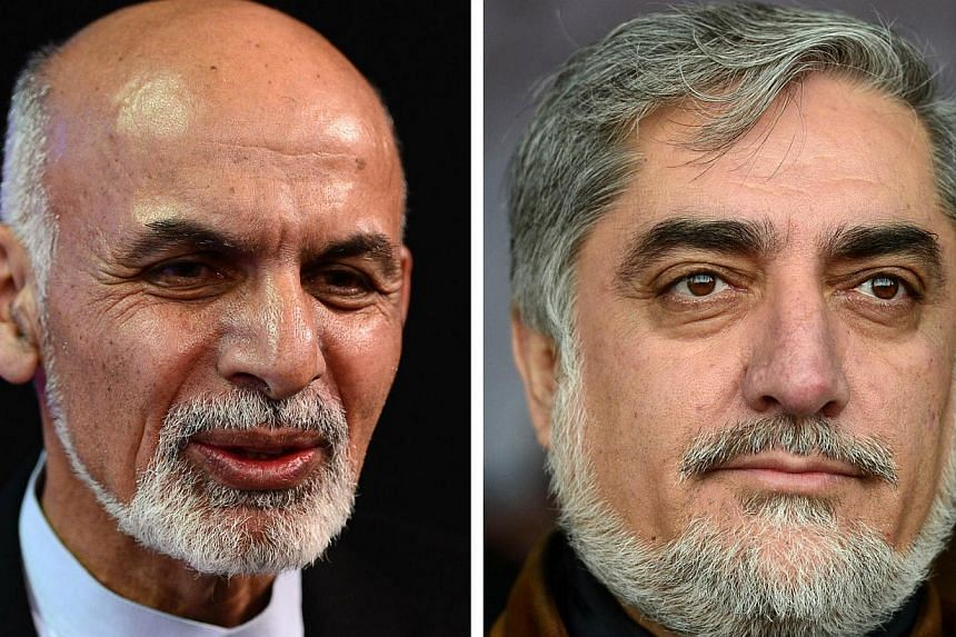 This combination of photographs created on April 3, 2014, shows Afghan Presidential candidates (from left) Ashraf Ghani Ahmadzai attending a debate at Tolo TV station in Kabul on February 4, 2014 and Abdullah Abdullah attending a Hazara gathering in