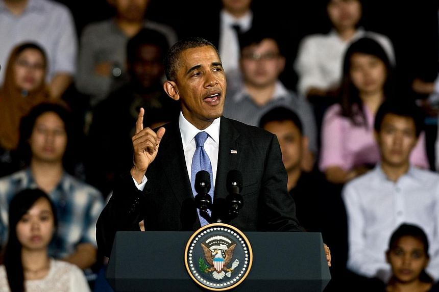 US President Barack Obama addresses young student leaders at the Young Southeast Asian Leadership Initiative (YSEALI) Town Hall during a visit to University of Malaya in Kuala Lumpur on April 27, 2014.US President Barack Obama warned on Sunday,