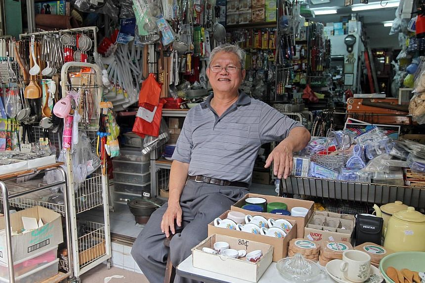 Roast meat eatery owner Yip Kwok Ching is moving out after his landlord upped the rental for the shop unit from $8,000 to $12,000 a month, while hardware shop-owner Michael Chan (above) and provision shop-owner Rodney Goh say they have been offered u