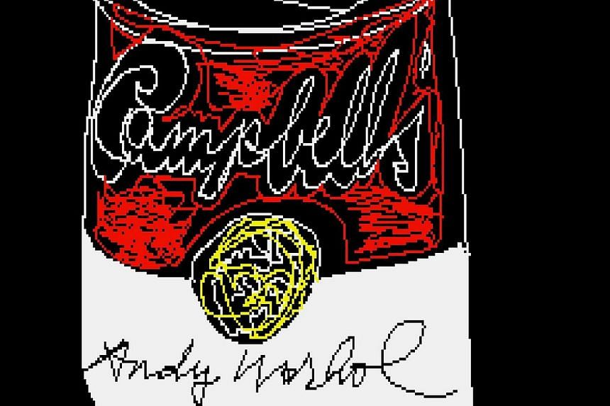 """A self-portrait of Warhol, also found in the floppy discs. Carnegie Mellon said the art on the disks show the artist's early exploration of software imaging tools and the ways in which he was years ahead of his time. Warhol's """"Venus"""" (left) and """"Camp"""