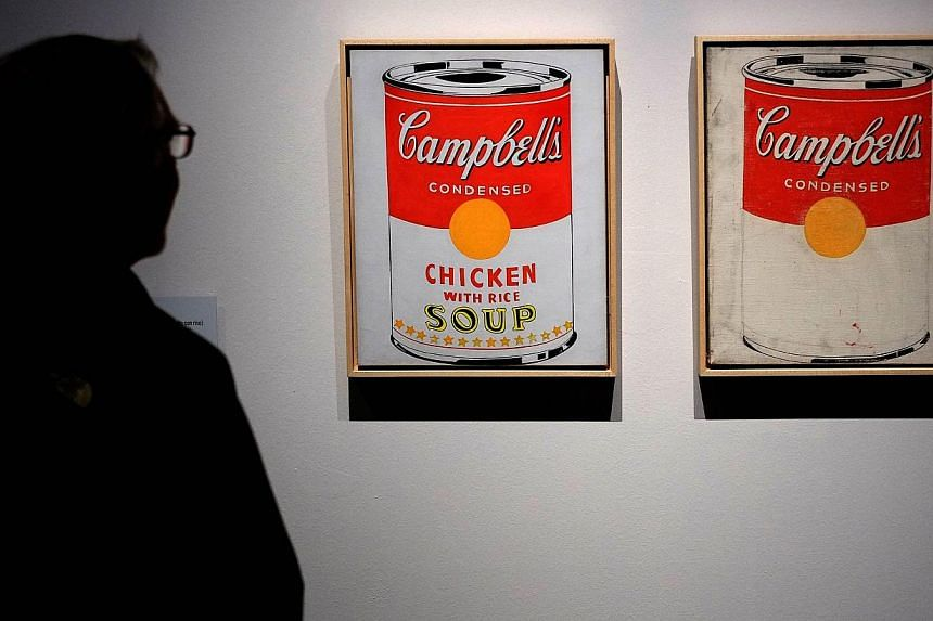 Andy Warhol's Campbell's Soup Cans artwork was on display during the exhibition Warhol in Rome on April 17, 2014. -- PHOTO: AFP