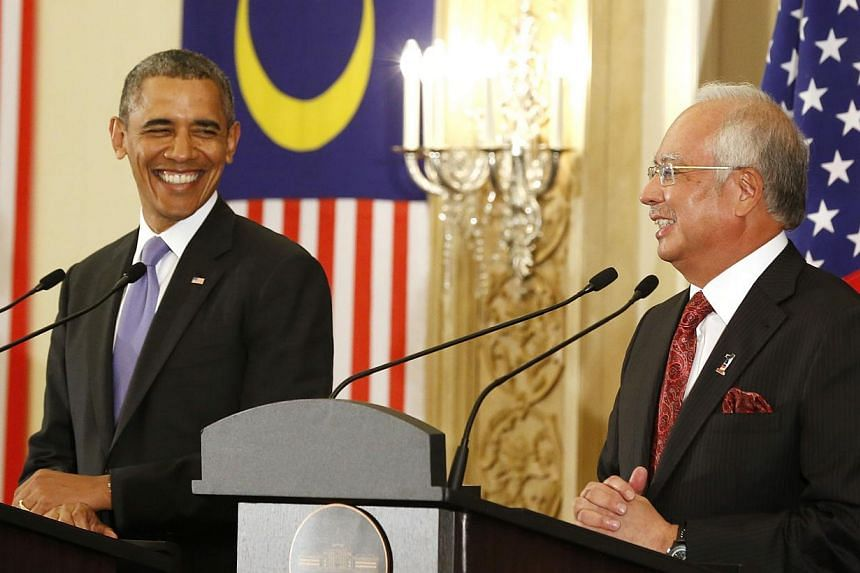 US President Barack Obama and Malaysian Prime Minister Najib Razak at a joint press conference at the Perdana Putra Building in Putrajaya, Malaysia, on April 27, 2014. -- PHOTO: REUTERS