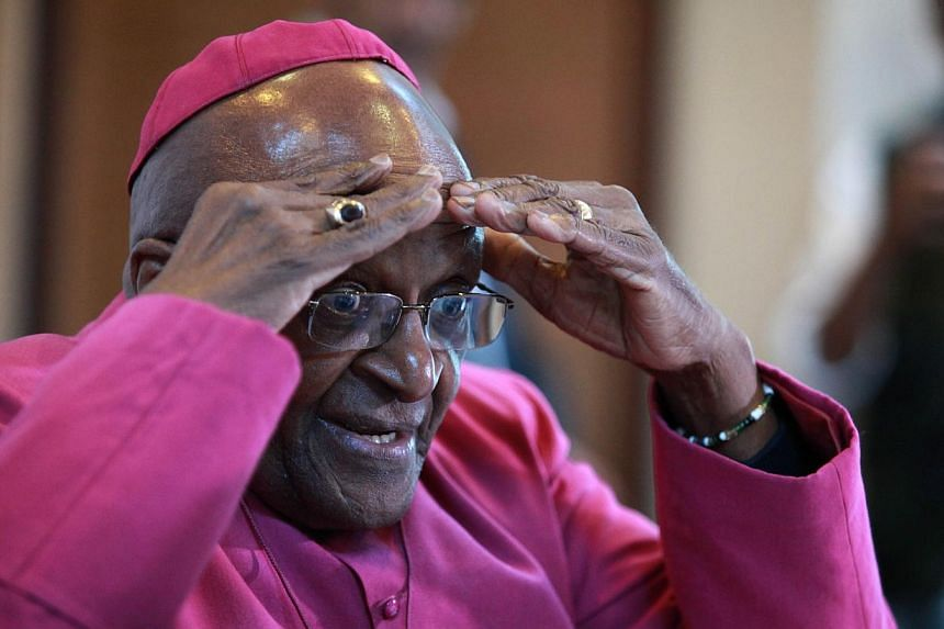 Nobel Peace Laureate Archbishop Desmond Tutu gestures during a press conference about the first 20 years of freedom in South Africa at St Georges Cathedral in Cape Town on April 23,2014. Tutu today celebrated 20 years of freedom in South Africa as a