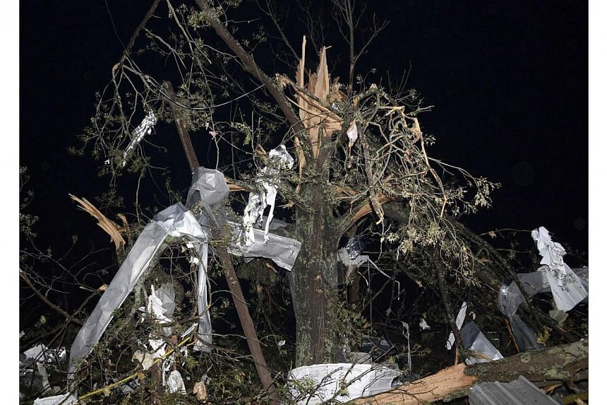 Debris hangs from a tree after a tornado hit the town of Mayflower, Arkansas around 7:30 pm CST, late on April 27, 2014. -- PHOTO: REUTERS