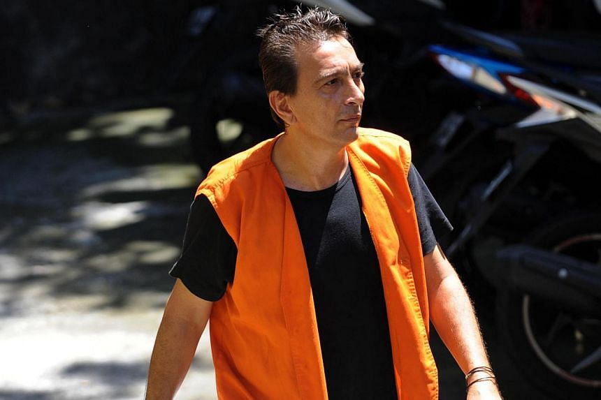 Drug suspect Thierry Verchere of France walks to a holding cell at a court in Denpasar on Bali island, on April 21, 2014.The Frenchman, who was caught with almost US$50,000 (S$62,812) worth of cocaine on the Indonesian resort island of Bali, wa