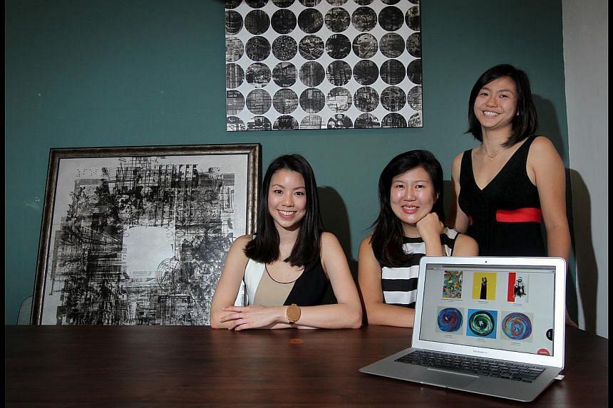 Art Loft's founders (from far left) Alexandra Eu, Michelle Chan and Tian Qiuyan.
