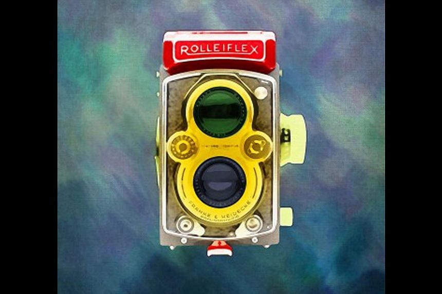 The acrylic on canvas painting, Super Rolleiflex, is available on the online art gallery ArtBank.
