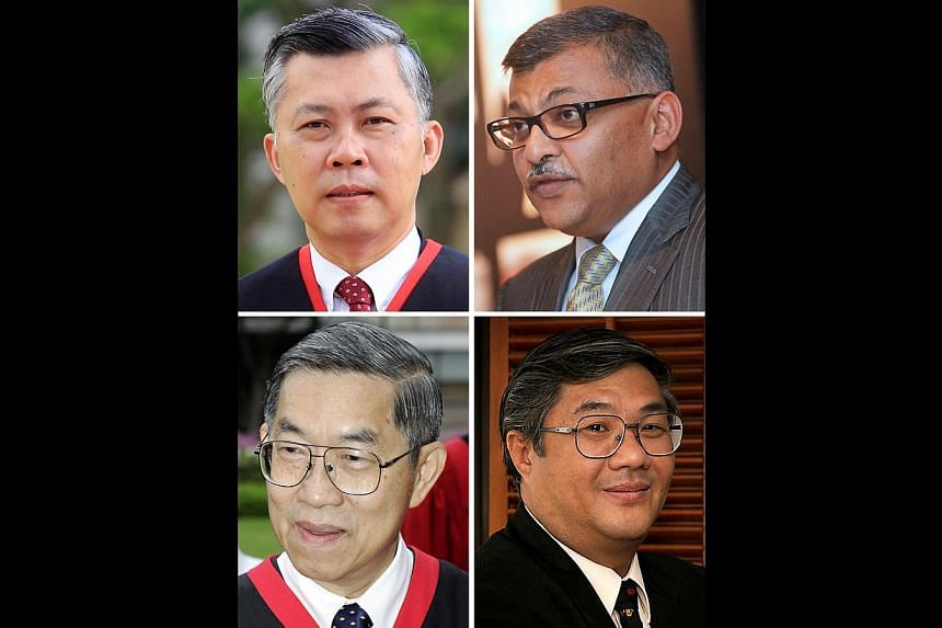 Justice V.K. Rajah will be attorney-general in June. His predecessors include (clockwise from top left) outgoing A-G Steven Chong, Chief Justice Sundaresh Menon, Professor Walter Woon and Judge of Appeal Chao Hick Tin. -- PHOTOS: SUPREME COURT, ST AN