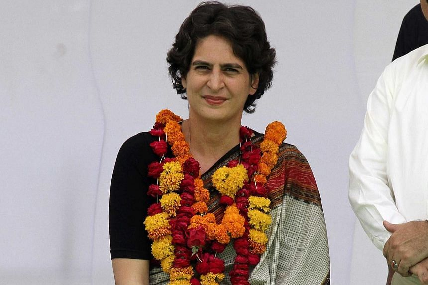 Priyanka Gandhi Vadra, daughter of India's ruling Congress party chief Sonia Gandhi, attends a campaign for her mother during an election meeting at Rae Bareli in the northern Indian state of Uttar Pradesh on April 22, 2014. -- FILE PHOTO: REUTERS