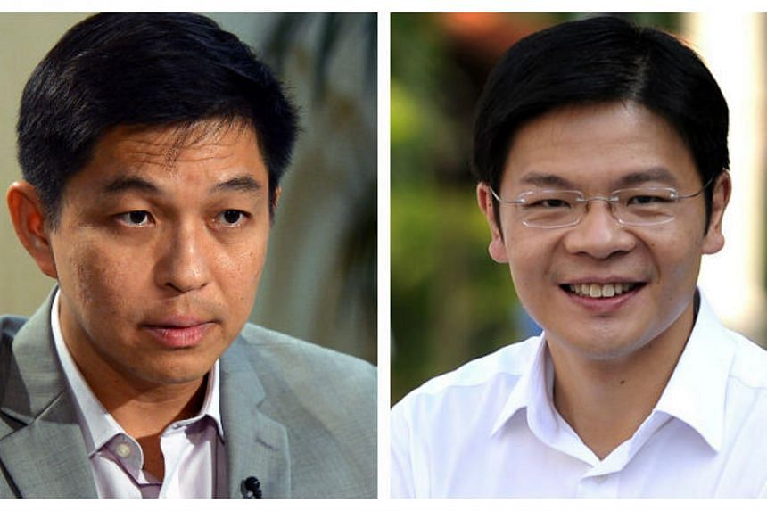 Prime Minister Lee Hsien Loong announced the fourth round of Cabinet changes since the General Election in 2011, promoting Mr Tan Chuan-Jin (left) and Mr Lawrence Wong to full minister.-- PHOTOS:ARTHUR LEE/MUGILAN RAJASEGERAN