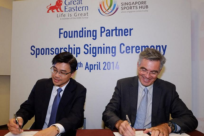 Dr Khoo Kah Siang, Great EasternCEO (Singapore) (left)with Mr Philippe Collin Delavaud, Sports HubCEO. Insurance group Great Eastern is announced as the official insurance partner of the Sports Hub.-- PHOTO: GREAT EASTERN