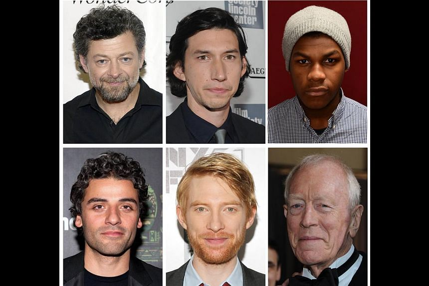 These recent file photos show top row from left: actors Andy Serkis, Adam Driver and John Boyega; bottom row from left: Oscar Isaac, Domhnall Gleeson and Max von Sydow. -- FILE PHOTOS: AFP