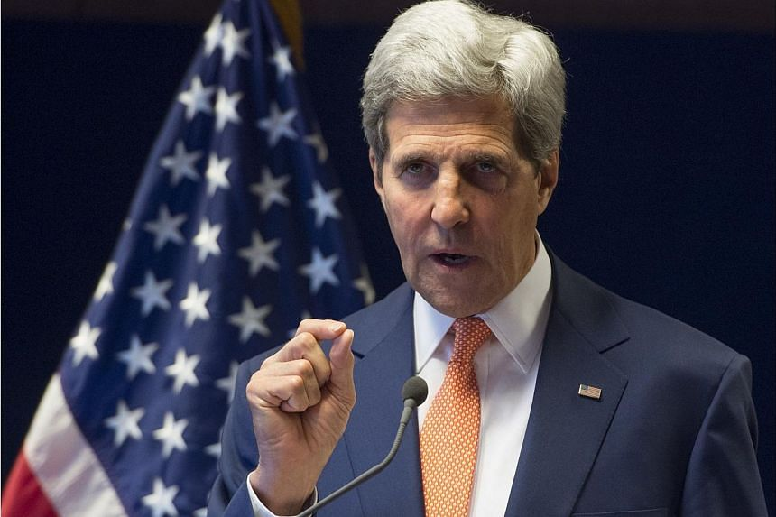 US Secretary of State John Kerry holds a press conference in Addis Ababa, on May 1, 2014. US Secretary of State John Kerry said on Thursday that he would pause and reassess what might be possible after failing to meet his April 29 goal for an Is