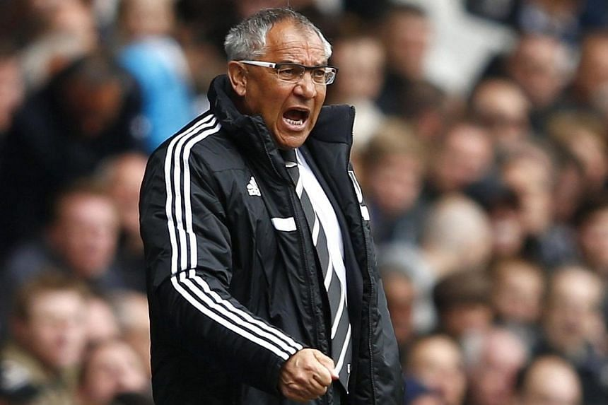 Fulham manager Felix Magath reacts during their English Premier League soccer match against Tottenham Hotspur at White Hart Lane in London on April 19, 2014. Felix Magath is not fearing for his job even if Fulham's turbulent season ends in releg