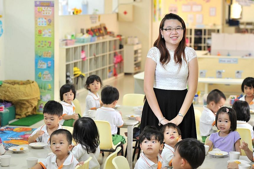 PHOTO: LIM YAOHUI FOR THE STRAITS TIMES SEE HOME B9 BETTER RECOGNITION: Ms Chan Yin Jie (above) is among pre-school professionals at two of Singapore's largest operators who will enjoy better pay and career progression. PAP Community Foundation, as w