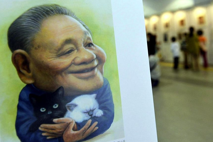 A portrait by cartoonist Zhu Zizun of China's late leader Deng Xiaoping is seen during China International Cartoon and Animation Festival in Hangzhou, Zhejiang province, April 29, 2014. -- PHOTO:REUTERS