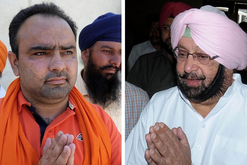 This combination of photographs created on April 28, 2014, shows Indian Independent parliamentary candidate for Amritsar Amarinder Singh (left) as he campaigns in the village of Chogawan, some 25km from Amritsar on April 28, 2014 and former chief min