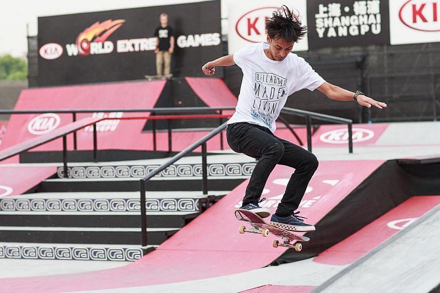 Singaporean skateboarder Firdaus Rahman in action at the Kia World Extreme Games.in Shanghai, on May 2, 2014. -- PHOTO:KIA WORLD EXTREME GAMES
