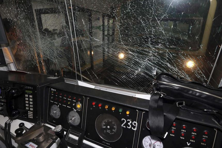 A conductor's cabin of a damaged subway train is seen at a subway station in Seoul on May 2, 2014. -- PHOTO: REUTERS