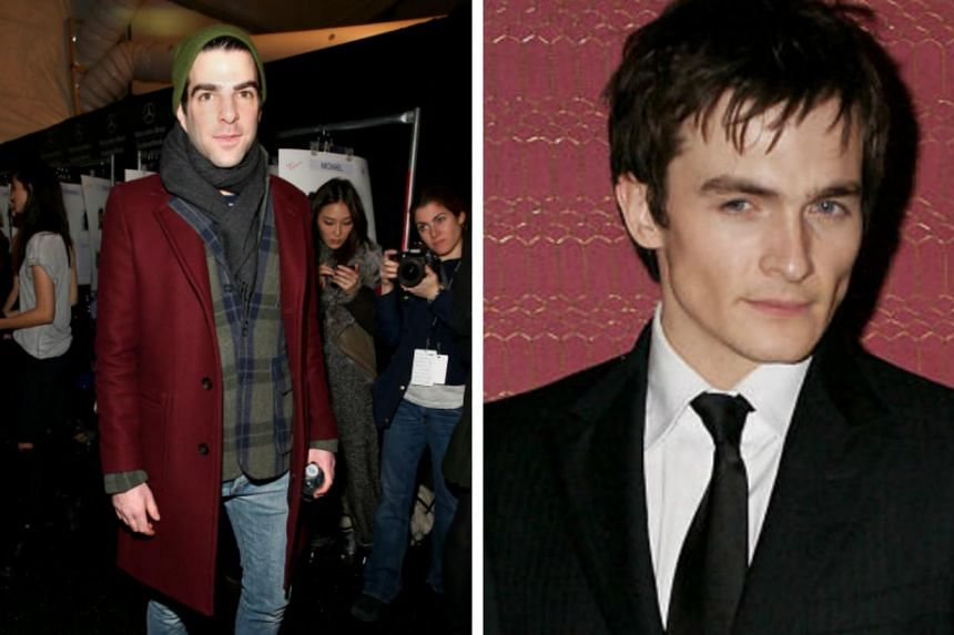Hollywood stars Zachary Quinto (left) and Rupert Friend are here to shoot scenes for Agent 47, a movie based on the Hitman video game. -- FILE PHOTOS: AFP/THIS IS LONDON