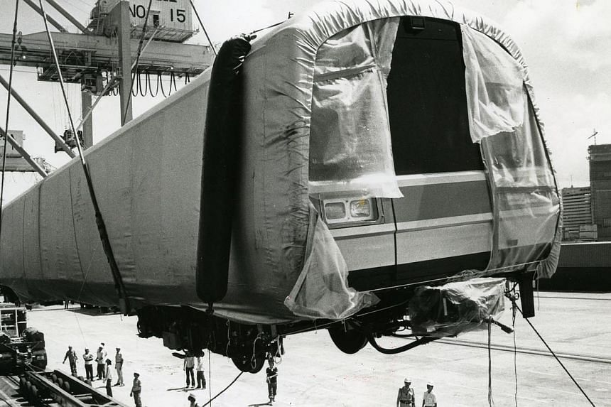Arrival of first SMRT trains. A train car being unloaded at the Container Terminal in May 1986. -- ST PHOTO: SIMON KER