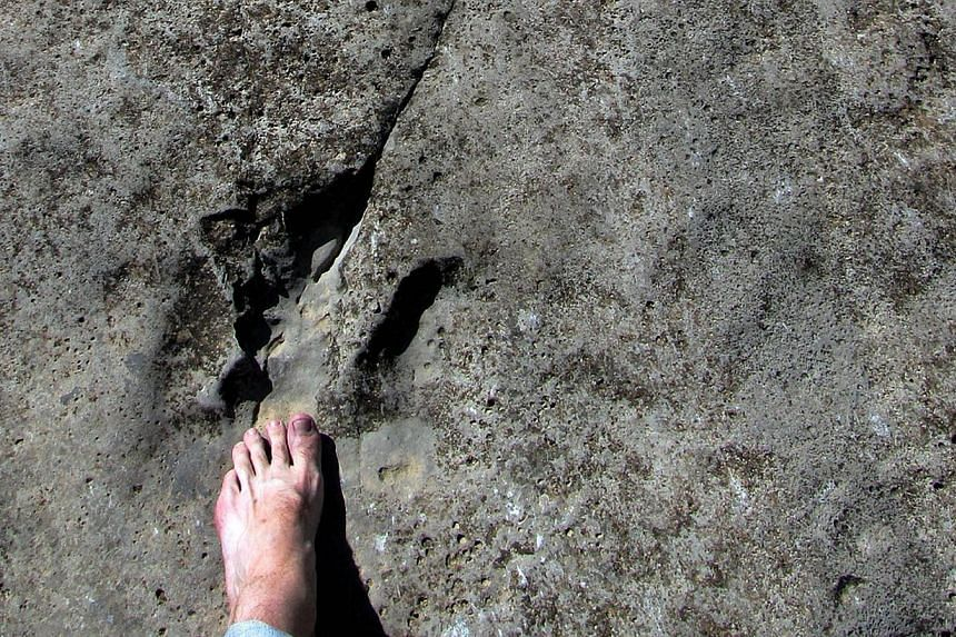 A man puts his bare foot on one of the fossilised dinosaur tracks on Turkmenistan's Plateau of the Dinosaurs in the country's eastern corner on the border with Afghanistan and Uzbekistan, on April 15, 2014. -- PHOTO: AFP