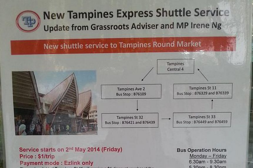 A new shuttle bus service, TE1, started plying a route between Tampines Streets 32 and 33 on Friday morning. It will provide a more direct route for residents in that area to the popular Tampines Round Market and Hawker Centre, and help reduce conges