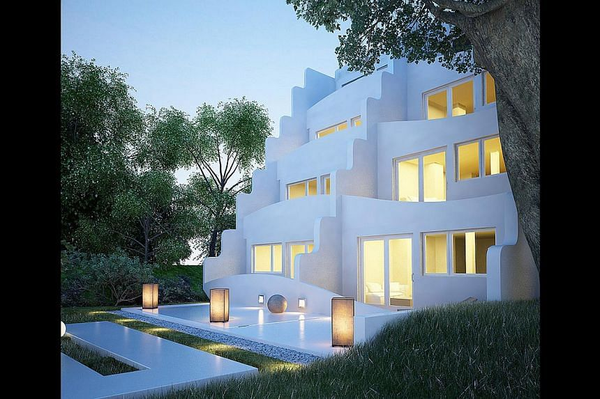 Known for the early designs of Apple stores such as those in Osaka, Mr Tim Kobe is now working on villas (above) in Boracay which are inspired by the traditional white houses on Santorini island in Greece. -- PHOTO: D PRIME