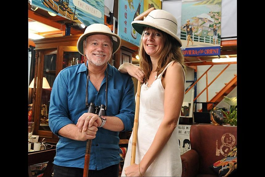 Accessories (left) inspired by Singapore's past are the highlights at Singapore Trading Post, opened by Mr Rob Pendergrast and Mrs Jo Harrison (both left, below). The shop also carries furniture from sofas to screens (below).