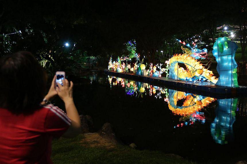 A lantern light-up ceremony at the Kong Meng San Phor Kark See Monastery in celebration of Vesak Day.-- ST PHOTO:ONG WEE JIN